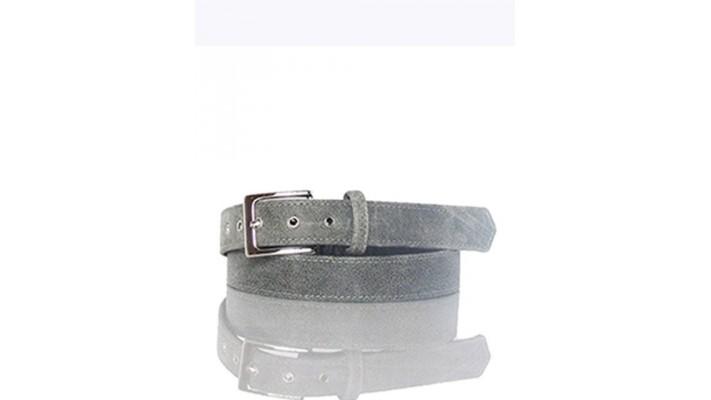 Grey leather belt.