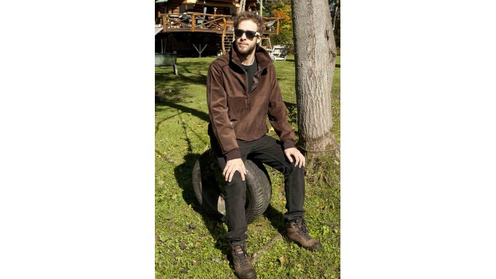Brown suede pull-over