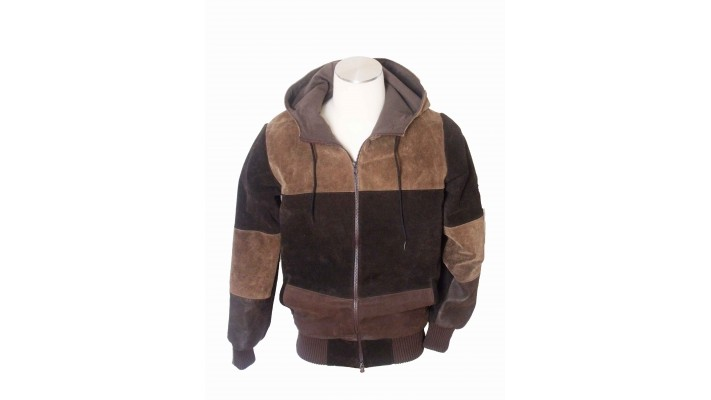Recycled leather jacket with hoodie brown