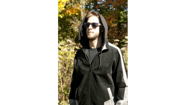 Black and grey suede jacket with hood