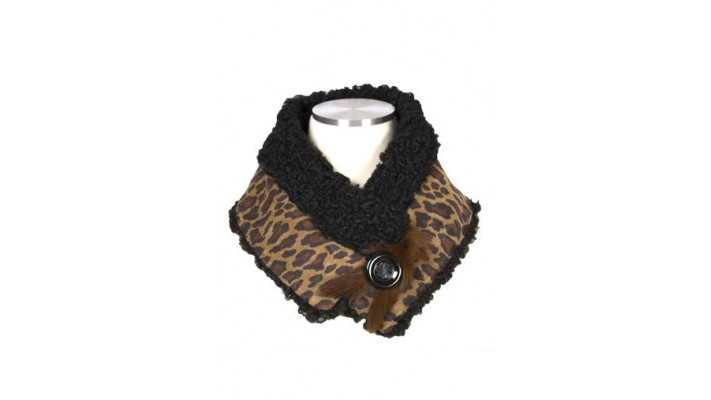 Leopard-print suede scarf