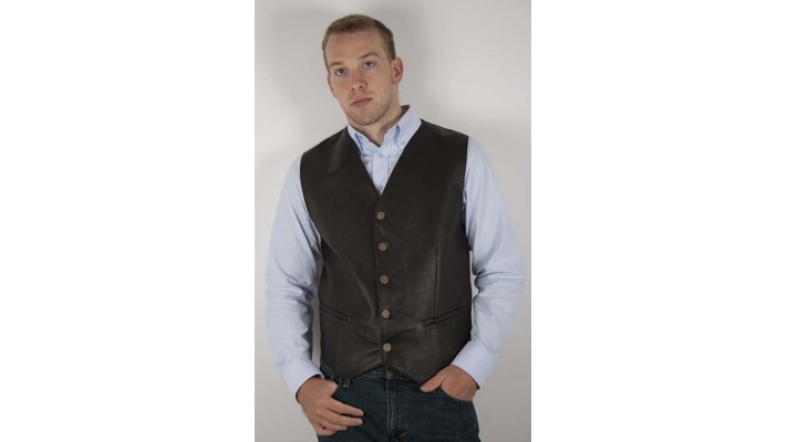 Semi-adjusted lambskin leather waistcoat