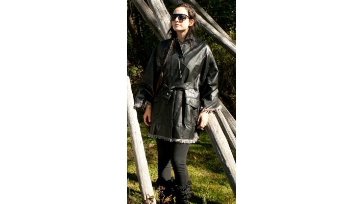 Black leather cape
