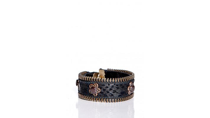 Bracelet en cuir recyclé imprimé noir