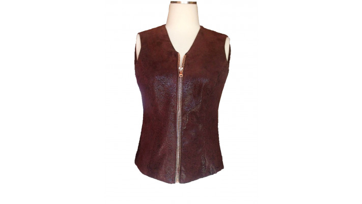 Printed suede waistcoat with zipper
