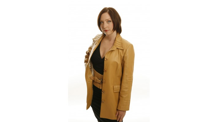 Gold lambskin leather jacket
